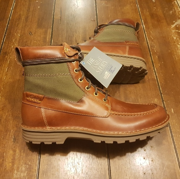 online store differently really cheap Clarks Sawtel Hi men Cushion plus tan Leather boot NWT